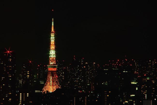 東京夜景 セルリアンタワーからの東京タワー